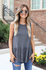 Charcoal - Crochet Tank From Dress Up