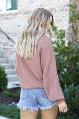 Mauve - Balloon Sleeve Sweater From Dress Up Back View