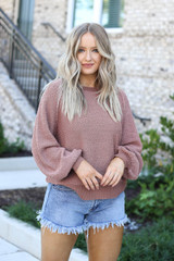 Model wearing Mauve Balloon Sleeve Sweater From Dress Up