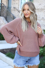 Mauve - Balloon Sleeve Sweater From Dress Up