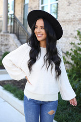 Ivory - Balloon Sleeve Sweater From Dress Up