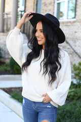 Model wearing Ivory Balloon Sleeve Sweater From Dress Up
