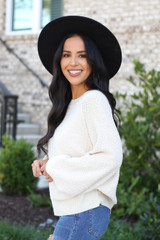 Ivory - Balloon Sleeve Sweater From Dress Up Side View