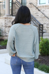 Model wearing Sage Balloon Sleeve Sweater From Dress Up Back View