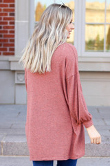Rust - Cloud Fleece Knit Cardigan Back View