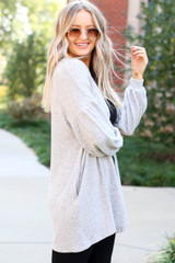 Heather Grey - Cloud Fleece Knit Cardigan Side View