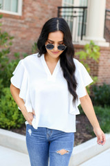Dress Up Model wearing White Flutter Sleeve Blouse Front View