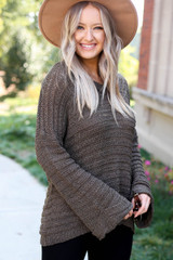 Olive - Open Knit Slouchy Sweater