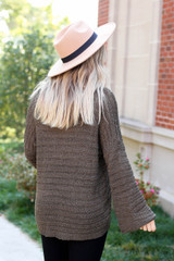 Dress Up Model wearing Olive Open Knit Slouchy Sweater Back View