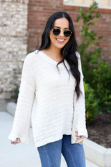 Ivory - Open Knit Slouchy Sweater