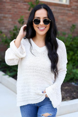 Dress Up Model wearing Ivory Open Knit Slouchy Sweater Front View