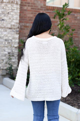 Ivory - Open Knit Slouchy Sweater Back View