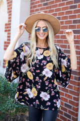 Dress Up Model wearing Black Floral Wide Sleeve Blouse Front View