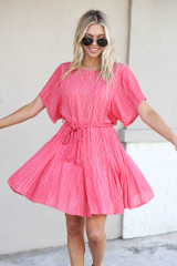 Red - Ruffle Striped Rope Tie Dress Twirling