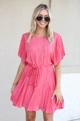 Red - Ruffle Striped Rope Tie Dress