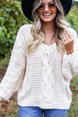 Ivory - Chunky Cable Knit Sweater