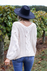 Dress Up Model wearing Ivory Chunky Cable Knit Sweater Back View