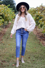 Dress Up Model wearing Ivory Chunky Cable Knit Sweater Full View