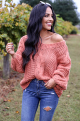 Rust - Chunky Cable Knit Sweater Off the Shoulder