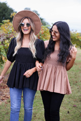 Black - and Taupe Smocked Bust Puff Sleeve Blouse
