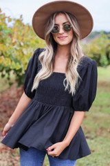 Black - Smocked Bust Puff Sleeve Blouse Front View