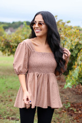 Taupe - Smocked Bust Puff Sleeve Blouse