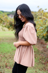 Taupe - Smocked Bust Puff Sleeve Blouse Side View