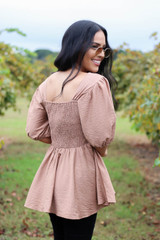 Dress Up Model wearing Taupe Smocked Bust Puff Sleeve Blouse Back View