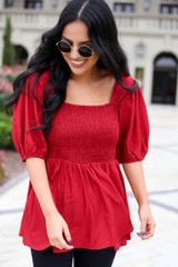 Dress Up Model wearing Red Smocked Bust Puff Sleeve Blouse  Front View