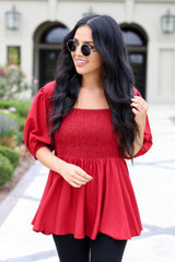 Red - Smocked Bust Puff Sleeve Blouse