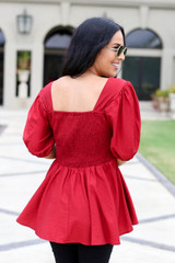 Red - Smocked Bust Puff Sleeve Blouse Back View