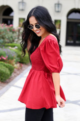 Dress Up Model wearing Red Smocked Bust Puff Sleeve Blouse  Side View