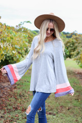 Grey - Color Block Sleeve Jersey Knit Top Side View