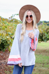 Grey - Color Block Sleeve Jersey Knit Top