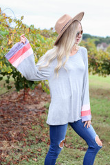 Grey - Color Block Sleeve Jersey Knit Top Front View