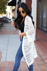 Ivory - Open Knit Lightweight Cardigan Side View