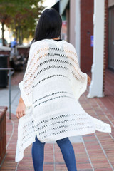 Dress Up Model wearing Ivory Open Knit Lightweight Cardigan Back View