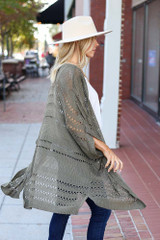 Dress Up Model wearing Olive Open Knit Lightweight Cardigan Side View