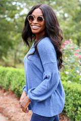Blue - Brushed Knit Top Side View