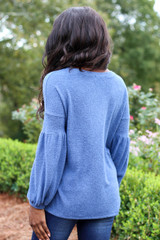 Blue - Brushed Knit Top Back View
