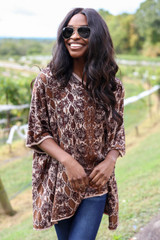 Taupe - Animal Print Oversized Poncho from ShopDressUp