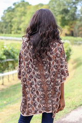 Model wearing Animal Print Oversized Poncho from ShopDressUp- Back View