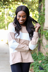 Model wearing Taupe and White Striped Pullover Front View
