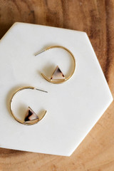 Taupe - Acrylic Detail Open Hoops Flat Lay