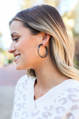 Grey - Smoky Tube Hoop Earrings on Model