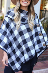 White - and Black Buffalo Plaid Fold Over Button Up Poncho Detail View