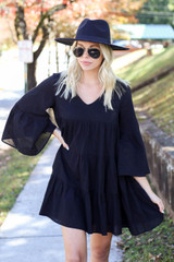 Black - Tiered Bell Sleeve Babydoll Dress Side View