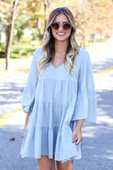 Sage - Tiered Bell Sleeve Babydoll Dress