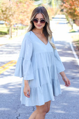 Sage - Tiered Bell Sleeve Babydoll Dress Side View