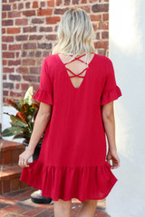 Red - Criss Cross Back Dress Back View